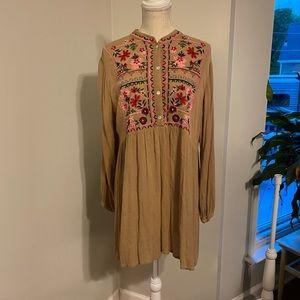 EUC Velzera Tan Embroidered Boho L/S Tunic